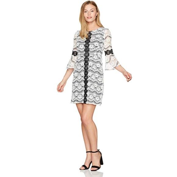 09a46db5616 Gabby Skye Women s Petite Striped Lace Dress